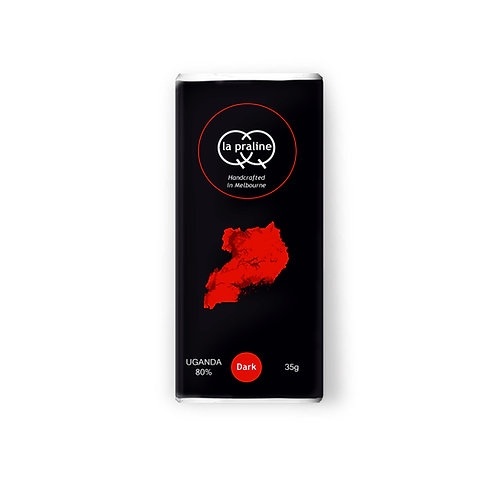 Packaging of Uganda dark chocolate