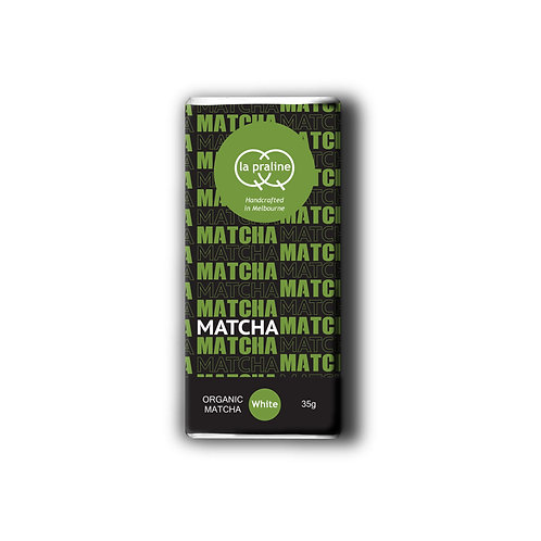 Packaging of organic matcha white chocolate