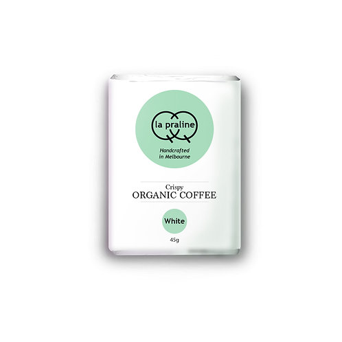 Packaging of crispy organic coffee white chocolate