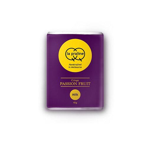 Packaging of crispy passion fruit milk chocolate
