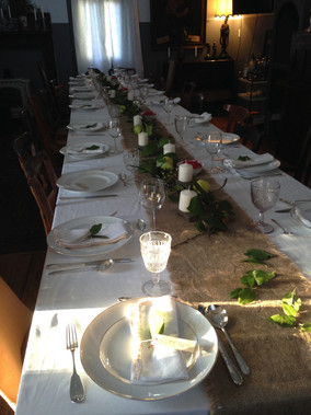Table set up for a 20 person dinner event