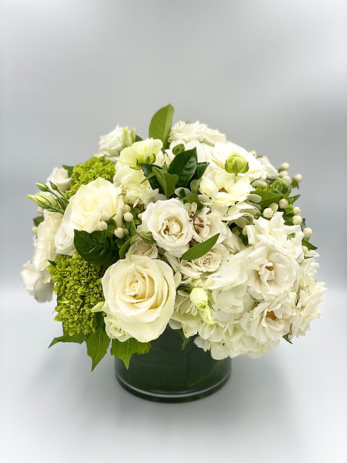 Elegant Shades of White and Green Flower Arrangement From $125