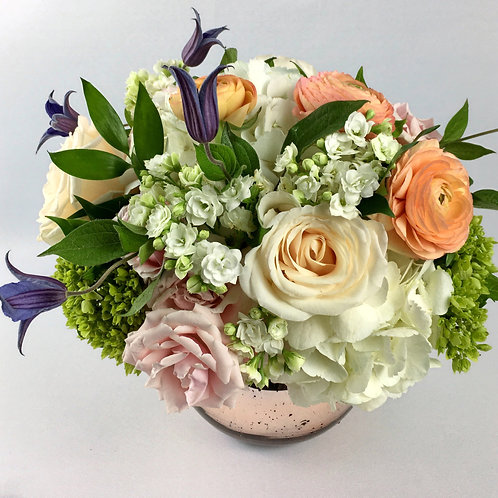 Pastel Rose Gold Mother's Day Flower Arrangement From $75