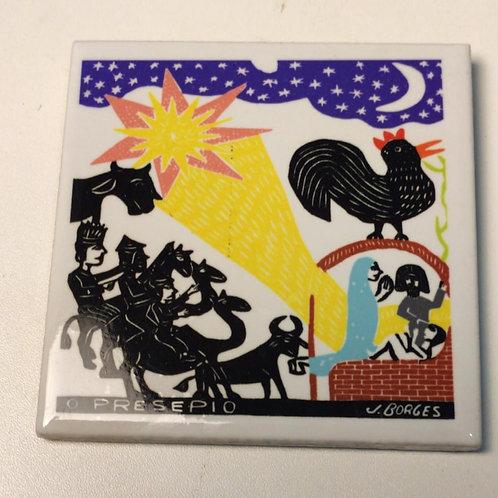 """Azulejo com xilogravura """"O Presepio"""" do Mestre J.Borges 7,5x7,5cm"""