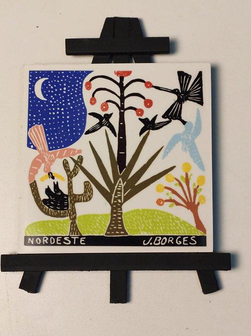 Cavalete com azulejo em cerâmica J. Borges