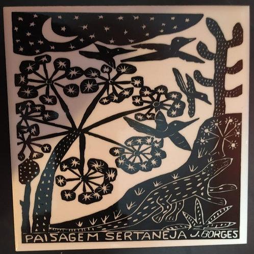 """Azulejo com xilogravura """"Paisagem Sertaneja""""do Mestre J.Borges 15x15cm"""