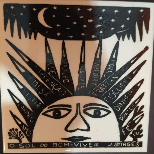 """Azulejo com xilogravura """"O Sol do bom viver""""do Mestre J.Borges 15x15cm PB"""