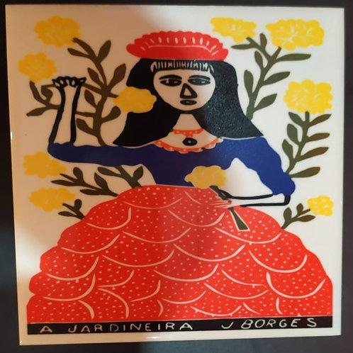 """Azulejo com xilogravura """"A Jardineira"""" do Mestre J.Borges 15x15cm"""