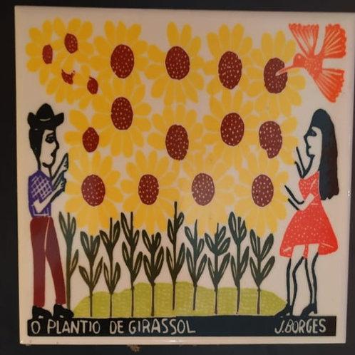 """Azulejo com xilogravura """"O Plantio de girassol""""do Mestre J.Borges 15x15cm"""