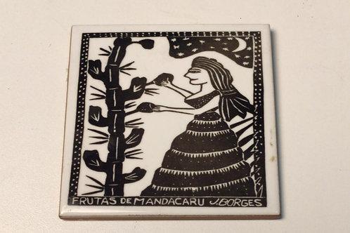 """Azulejo com xilogravura """"Frutas de Mandacaru"""" do Mestre J.Borges 7,5x7,5cm"""