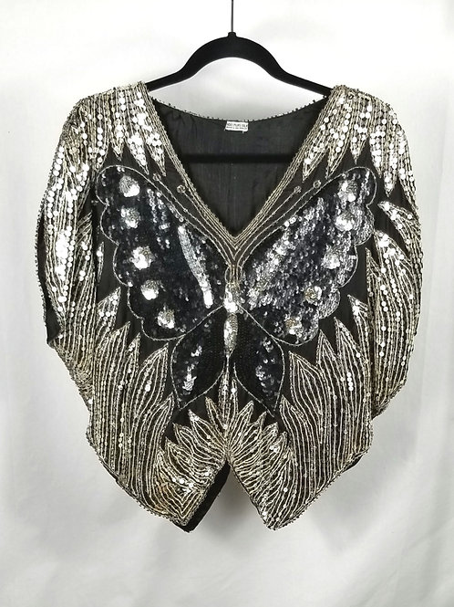Vintage Silk Sequined Buttefly Top - approx M