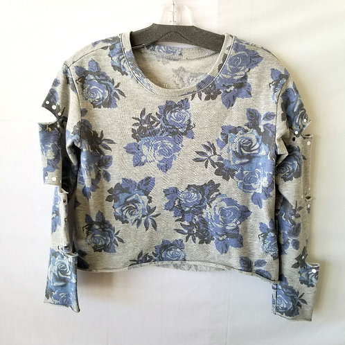 Justice Cropped Sweatshirt with Distressed Arms - size 12