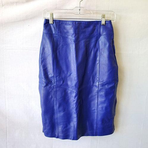Vintage La Nouvelle Renaissance Royal Blue Leather Pencil Skirt - size 6