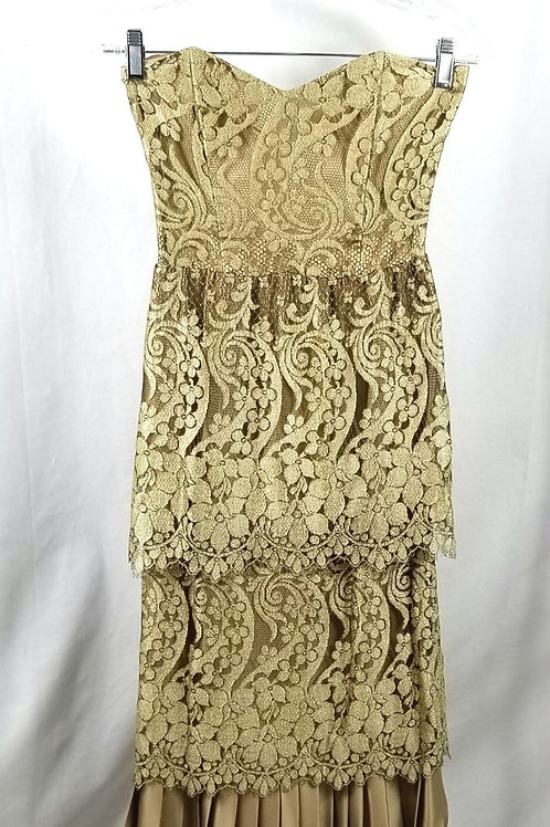 Vintage Tiered Lace Strapless Evening Dress - approx XS