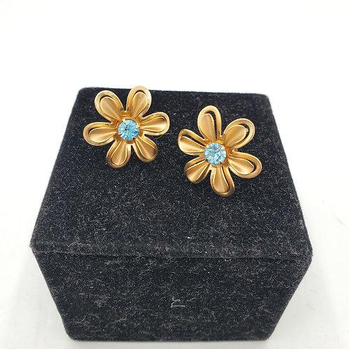 Vintage Daisy Screwback Earrings with Rhinstone