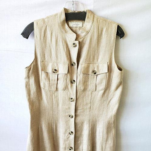 Lord & Taylor Natural Linen Sleeveless Shirtdress - size 4