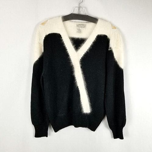 Vintage Bloomingdale's Sweater with Beaded Epaulets - L
