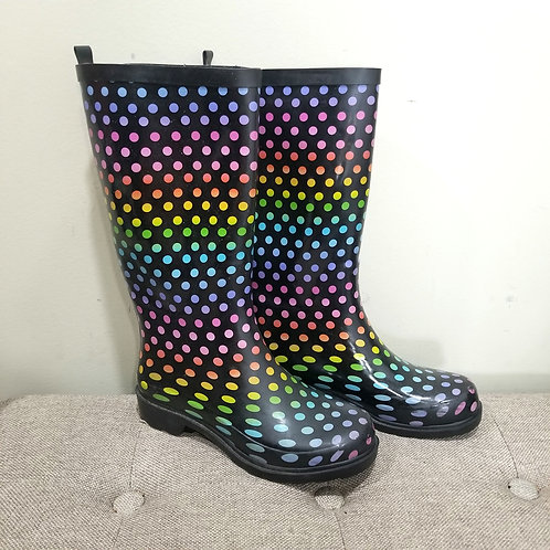 Rainbow Polka Dot Rubber Boots - size 6