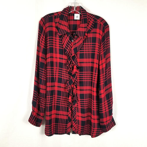 Cabi Red & Navy Plaid Shirt with Neckline Ruffle - L
