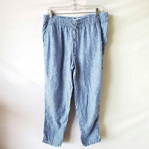 H & M Engineer Striped Linen Drawstring Pants - size 12