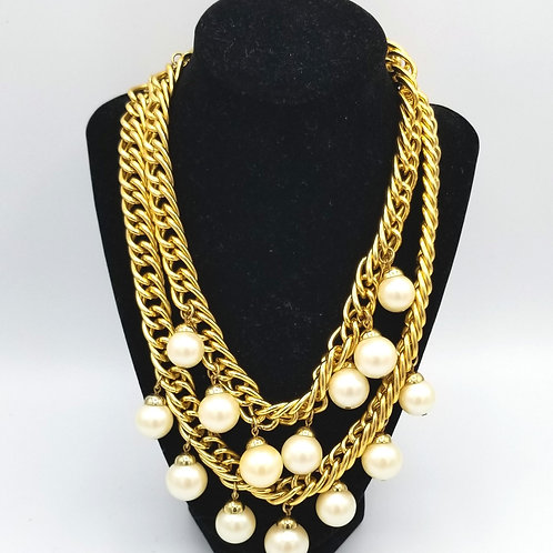 Oversized Faux Pearls Two Strand Necklace