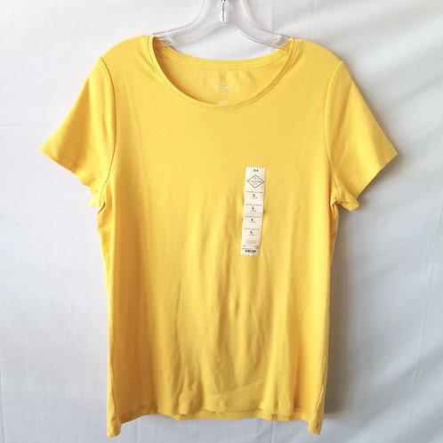 St John's Bay Butter Yellow Cotton Tee - L - New
