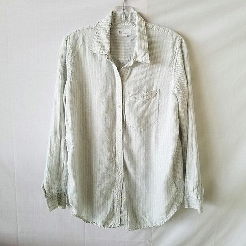 GAP Boyfriend Fit Striped Linen Shirt - S