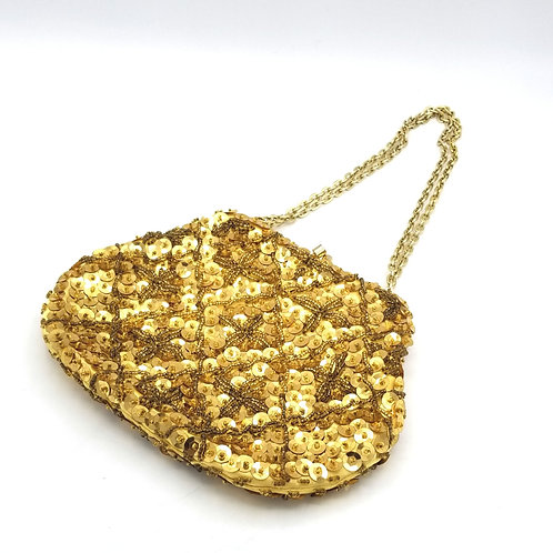 Vintage Gold Beaded & Sequined Purse