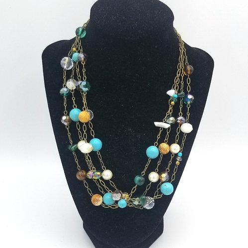 Four Strand Bead & Chain Necklace