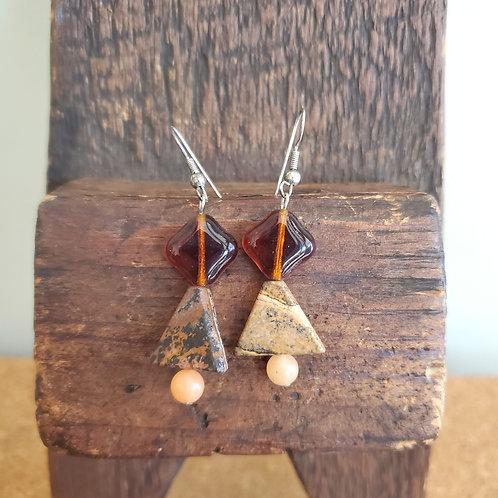 Agate Triangle Earrings