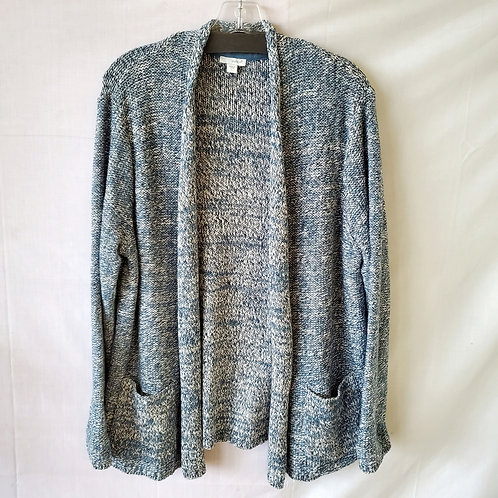 PureJill Marled Blue Cotton Open Cardigan - L