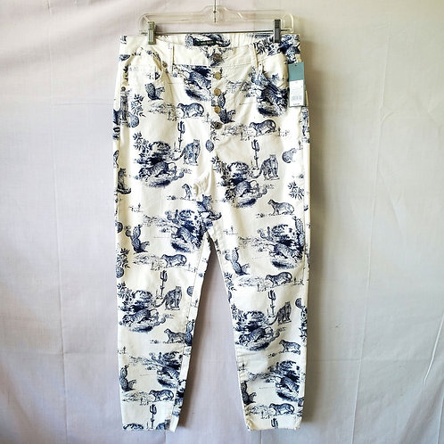 Wild Fable Button Fly Tiger Print Skinny Jeans - size 12 - New