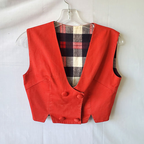 Vintage Handmade Reversible Cropped Vest - approx S