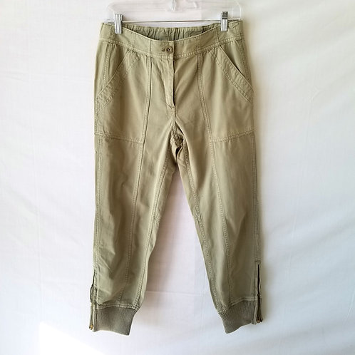 J Crew Green Khaki Utility Pants with Ankle Zips - size 6