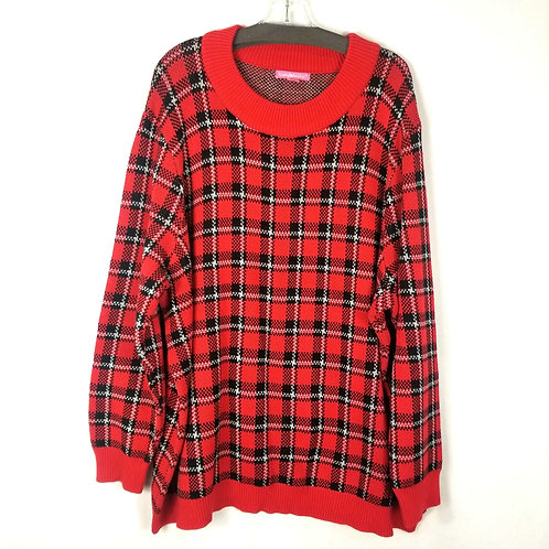 Woman Within Red Plaid Sweater - 3X