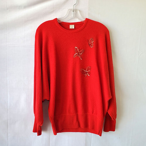 Vintage Dolman Sleeve Sweater with Sequin Butterflies - approx M