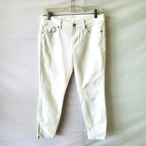 LOFT White Skinny Ankle Jeans with Zippers - size 6 Petite