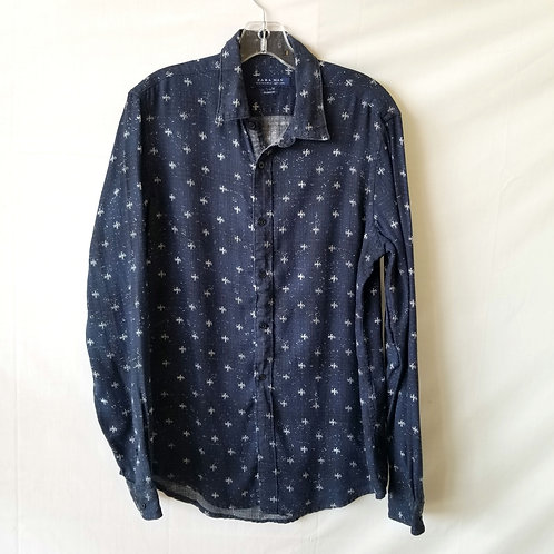 Zara Man Navy Relaxed Fit Button Up - M