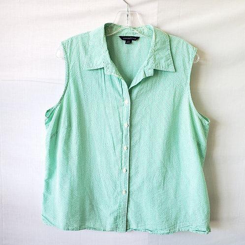 Land's End Seersucker Sleeveless Shirt - L