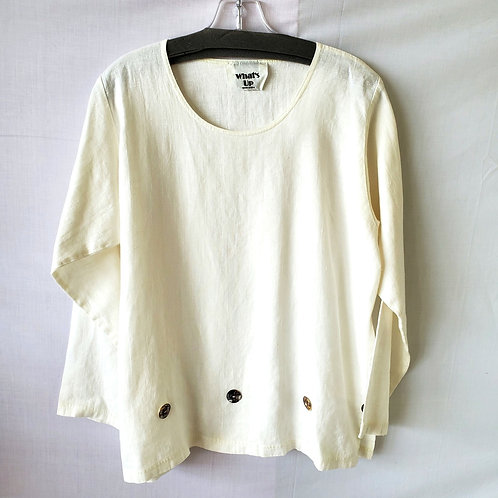 What's Up Oversized White Linen Top with Button Detail - S