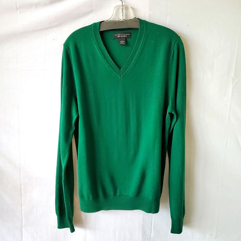 Bloomingdale's Emerald Green Merino Wool V-Neck Sweater - S