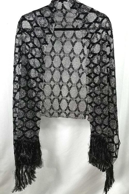 Lurex & Black Woven Shawl