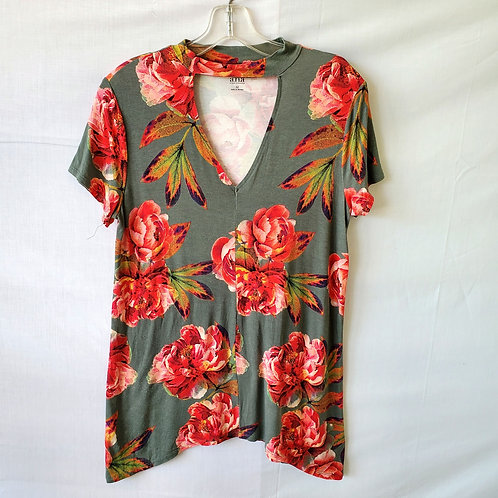 A.N.A. Floral Tee with Cutout - M