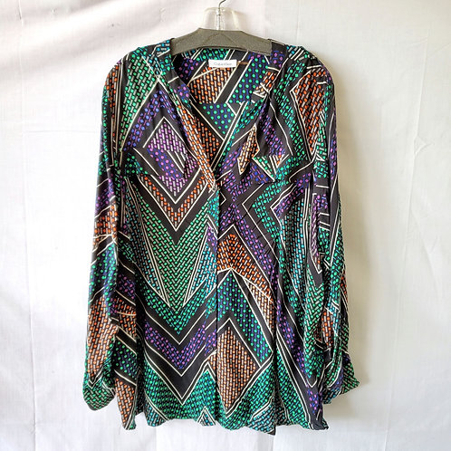 Calvin Klein Patterned Blouse with Buttons - 1X