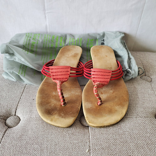 Terra Plana Red Leather Flip Flops - size 39