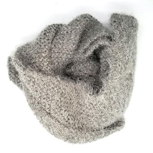 Handknit Gray Cozy Scarf
