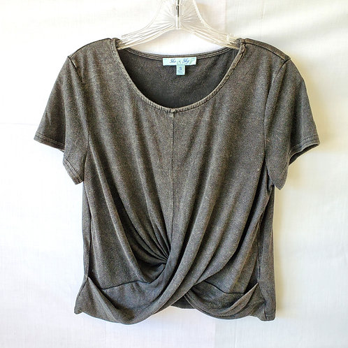 She + Sky Twist Front Cropped Tee - S