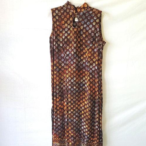 April Cornell Rayon Batik Dress with Keyhole Neckline - S