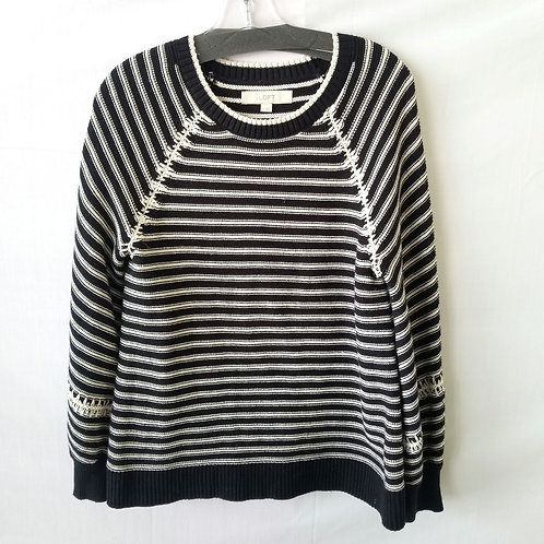 LOFT Black & White Cotton Sweater - S
