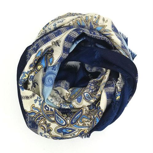 Vintage Oversized Blue Paisley Scarf